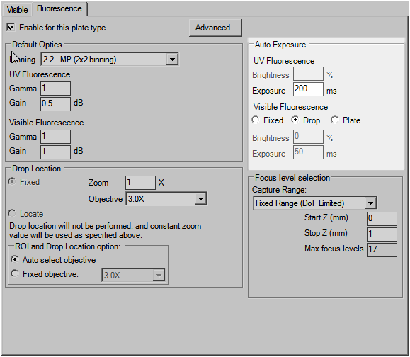 Auto exposure settings for Visible Fluorescence