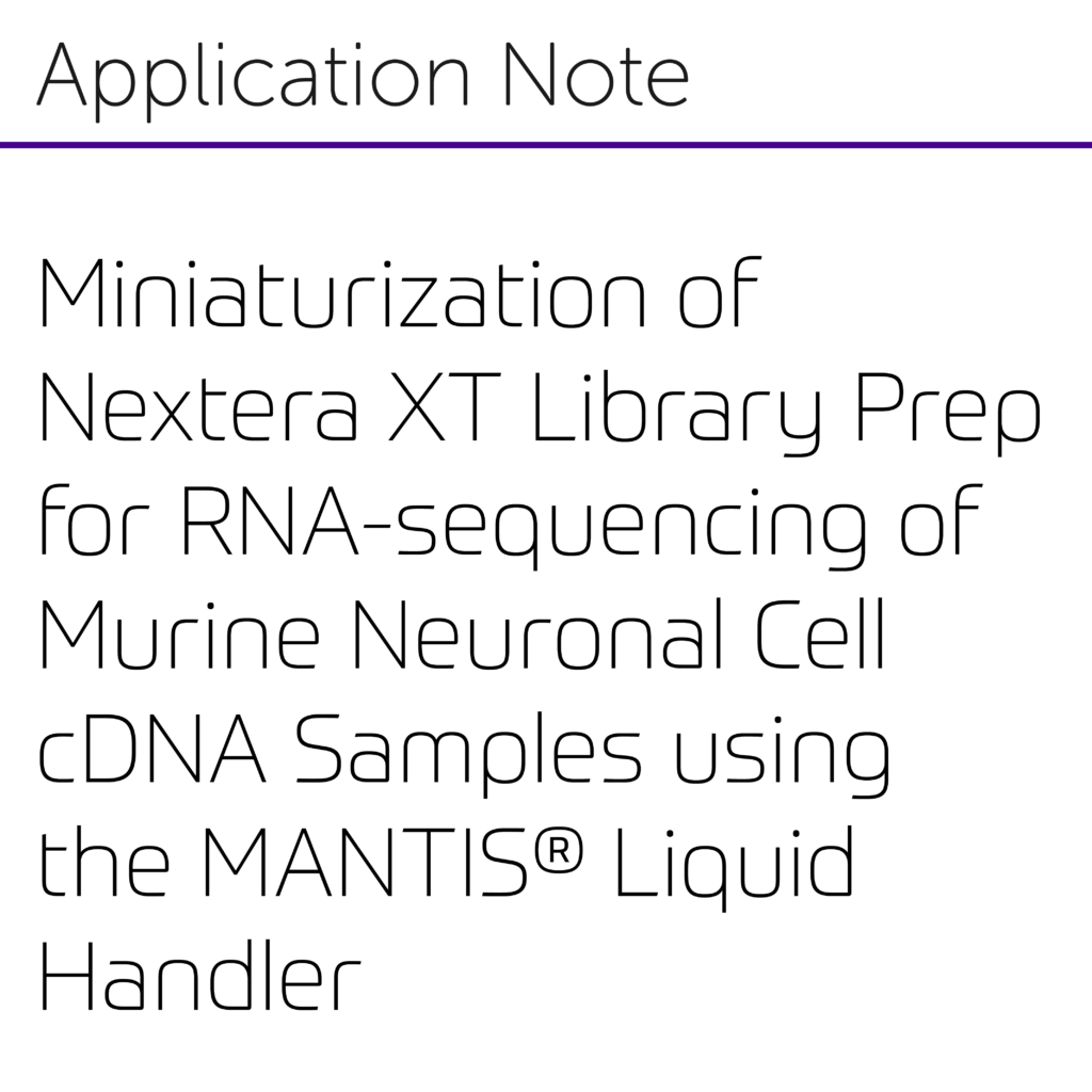 Miniaturization of Nextera XT Library Preparation for RNA-sequencing of Murine Neuronal Cell cDNA Samples using the MANTIS® Liquid Handler-01